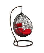 Outdoor Wicker Hanging Hammock W/Stand Proch Swing Chair Red Cushion - $549.00
