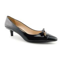New PRADA Size 9.5 Black Patent Logo Bow Kitten Heels Pumps Shoes 40.5 Eur - $268.00