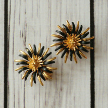 vintage Coro gold black spiky urchin clip earrings mid century midcentury - $12.86