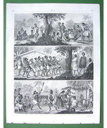 PACIFIC ISLANDS Natives New Zealand Phlippines - 1844 SUPERB Engraving P... - $12.15
