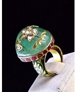 ANTIQUE NATURAL COLOMBIAN EMERALD CABOCHON DIAMOND 22K GOLD JADAU DESIGN... - $5,320.00