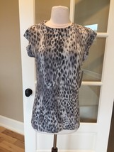 Kenneth Cole Animal Print Pullover Angora Silk Top Womens Small New - $16.99