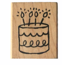 Impress Rubber Stamp Birthday Cake with Candles Greeting Card Making Craft Art - $3.00