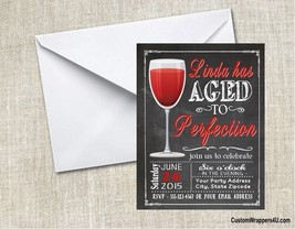 Red Wine Glass Chalkboard Birthday Party Invitations Personalized Custom - $0.99+