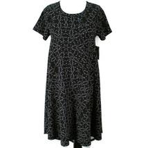 Lularoe Carly Dress Womens XS Black Gray Floral Short Sleeve Knit HI Low Hem - $24.99