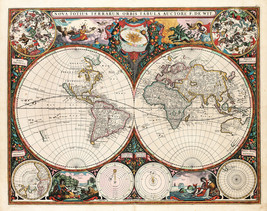 23x29 Decorative World Map 1660 Frederick de Wit Richly illustrated Hist... - $23.76