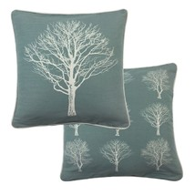 """2 X FOREST TREES DUCK EGG BLUE WHITE 100% COTTON PIPED CUSHION COVER 17""""... - £9.00 GBP"""