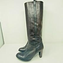 Ann Taylor Loft Women's 7.5 Brown Knee Hi Leather Boots Snakeskin Strip - $39.60