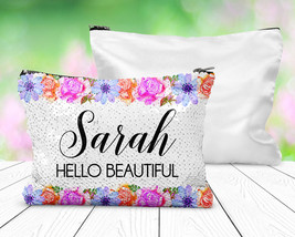 Personalized Hello Beautiful Floral Sequin Makeup Bag - $12.99