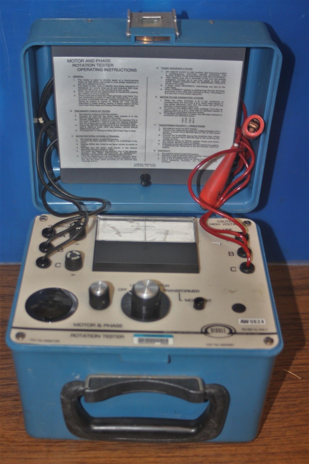 Biddle Megger Motor Phase Rotation Tester And 35 Similar Items