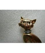 VTG Stylized KITTEN Green Eyes Rhinestones Cat w Collar PIN BROOCH Gold ... - $4.94