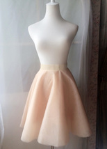 NUDE High Waist A-line Tulle Skirt Women Nude Circle Skirt - Waist 72cm /28in image 3