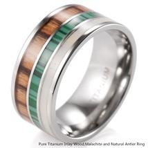 9mm Antler Wedding Band Malachite Titanium Inlay Wood Ring Outdoor Wedding Band - $23.80