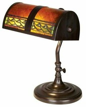 Dale Tiffany Egyptian Desk Lamp Bronze Tone Metal Rolled Art Glass Decor... - $94.05