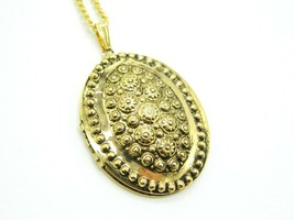 Pennys Art Nouveau Style Photo Locket Gold Tone Pendant Necklace Vintage... - $19.79