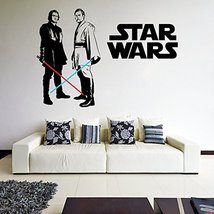 (71'' x 49'') Star Wars Vinyl Wall Decal / Obi Wan Kenobi & Anakin Skywalker wit - $86.45