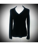 Charter Club 2-ply Cashmere Sweater Black Long Sleeve V-Neck Rouched Medium - $34.83