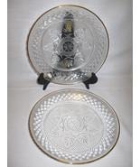 USA  Press Glass Clear Flower Diamond Design Gold Rim Qty 2 Plates #12 &... - $12.95