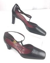 Lauren Ralph Black Leather Lizard Print High Heels T Strap Shoes Women's 6M - $22.72