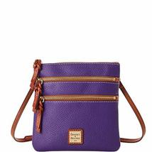 Dooney & Bourke Pebble North South Triple Zip Crossbody Violet