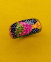 Art Wood Bangle Handmade  painting Kusama Mushrooms Polka Dots Jewelry G... - $26.00