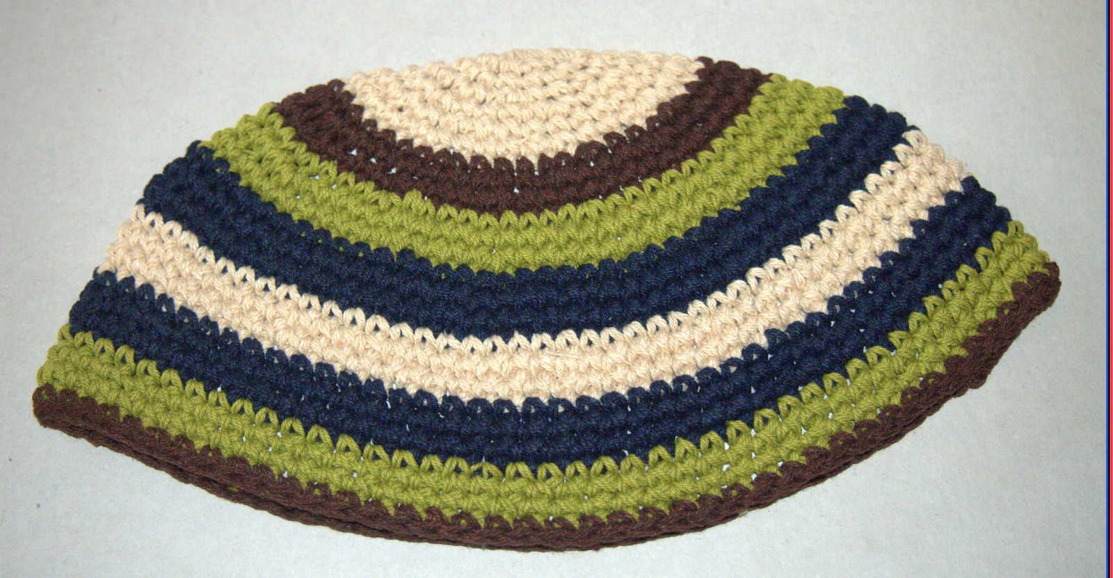 Frik Kippah Yarmulke Crochet Colorful Brown Green Striped Israel 23 cm Judaica