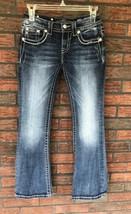Miss Me Jeans Size 25 Signature Stretch Blue Boot Cut Black Tag Back Fla... - $24.50