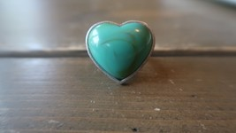 Green Silver Heart Ring Size 8 - $6.43