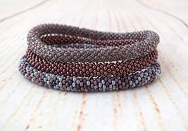 Bead Crochet Triple Stackable Bracelets Set Taupe Brown Purple Bangle fo... - $17.00+