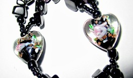 Vintage Black Glass Necklace with Venetian Heart Beads 21 inches Long - $9.95