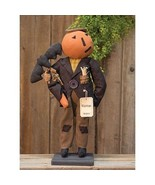 farmhouse primitive country rustic fall Halloween Norman Pumpkin & Bat 2... - $49.99