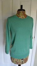 J.Crew Knit Top S Sweater Merino Wool Crew Neck 3/4 Sleeves Green NWT - $39.95