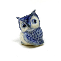 Ceramic Blue Owl Figurine Porcelain Miniature Collectible Bird Dollhouse... - $3.47