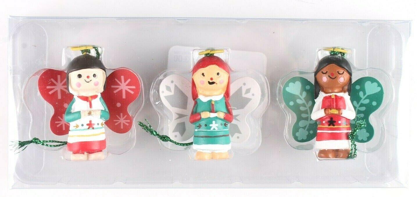 Wondershop Trend Trim 3 ct Mini Wooden Angel Ornaments NEW