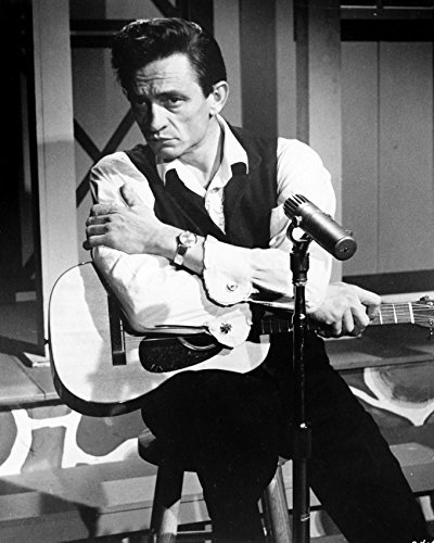 Johnny Cash Seated On Stool With Guitar 1960'S Tv Series 16x20 Canvas Giclee