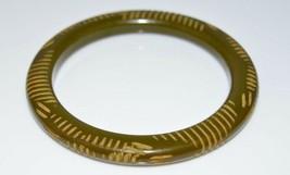 VTG Olive Green BAKELITE TESTED Carved Bangle Bracelet - $198.00