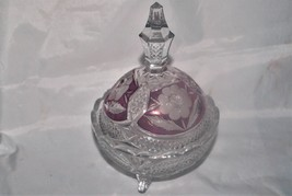 Rare Vintage Hofbauer Ruby Flash Rose Lidded Candy Dish - $46.74