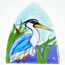 Fused Art Glass Blue Heron Cattail Nightlight Night Light Handmade Ecuador image 2