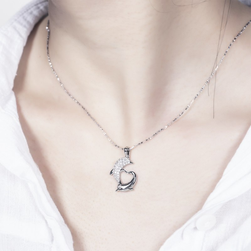925 Sterling Silver Dolphin Heart Shaped Women Necklace Pendants image 4