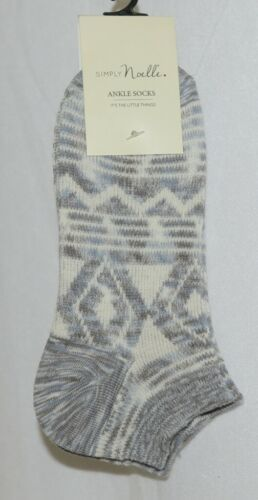 Simply Noelle Ankle Socks Grays Light Blues Cream Colors One Size Fits Most
