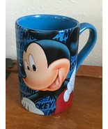 Disney Store Marked Large Blue w Mickey Mouse Ceramic Coffee Cup Mug  – 5 inches - $11.29