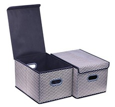 Onlyeasy Large Cloth Storage Box with Lids - Baskets Bins Cubes Cubby Cl... - $20.72