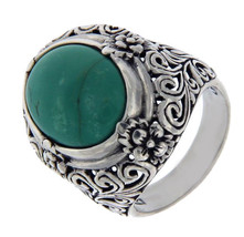 Solid 925 Sterling Silver Turquoise Cluster Flower  Ring» R121 - £33.14 GBP