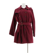 Joan Rivers Water Resistant Trench Coat Removable Hood Wine 12 NEW A295129 - $68.29
