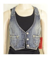 1 Guess vest SZ S NWT denim fitted cropped racerback waistcoat style USA - $24.74