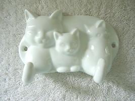 Vintage Avon Ceramic Cat / Kittens Themed Wall Mount 2 Hook Clothing Holder - $15.88