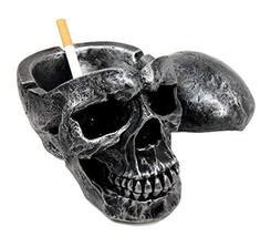 Ebros Death Curse Gothic Metallica Human Skull Ashtray Resin Figurine Day Of The - $19.75