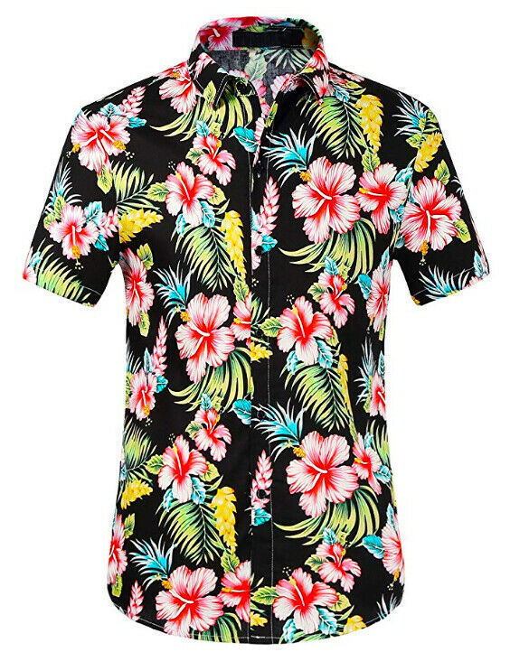 Men's Tropical Aloha Beach Party Hawaiian Luau Button Up Casual Dress Shirt 2XL