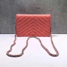 NEW AUTH CHANEL LIMITED Coral Pink Chevron WOC Wallet on Chain WOC Bag  image 6