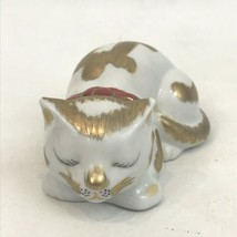 Vintage Hand Painted Cat Figure White Gold Kitten Kitty Sleeping Collector  - $24.74